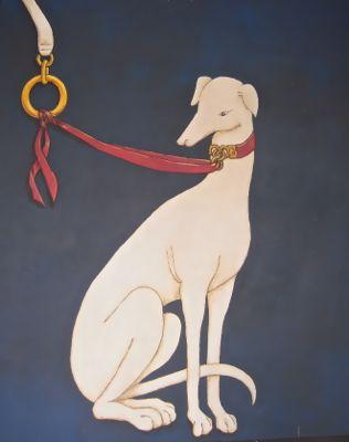 Fresco with whippet or greyhoun