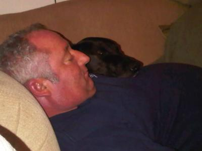 Jim and Max sleeping cheek to cheek